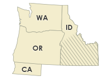 Oregon, Washington, California, Idaho, Nevada, Montana, Wyoming